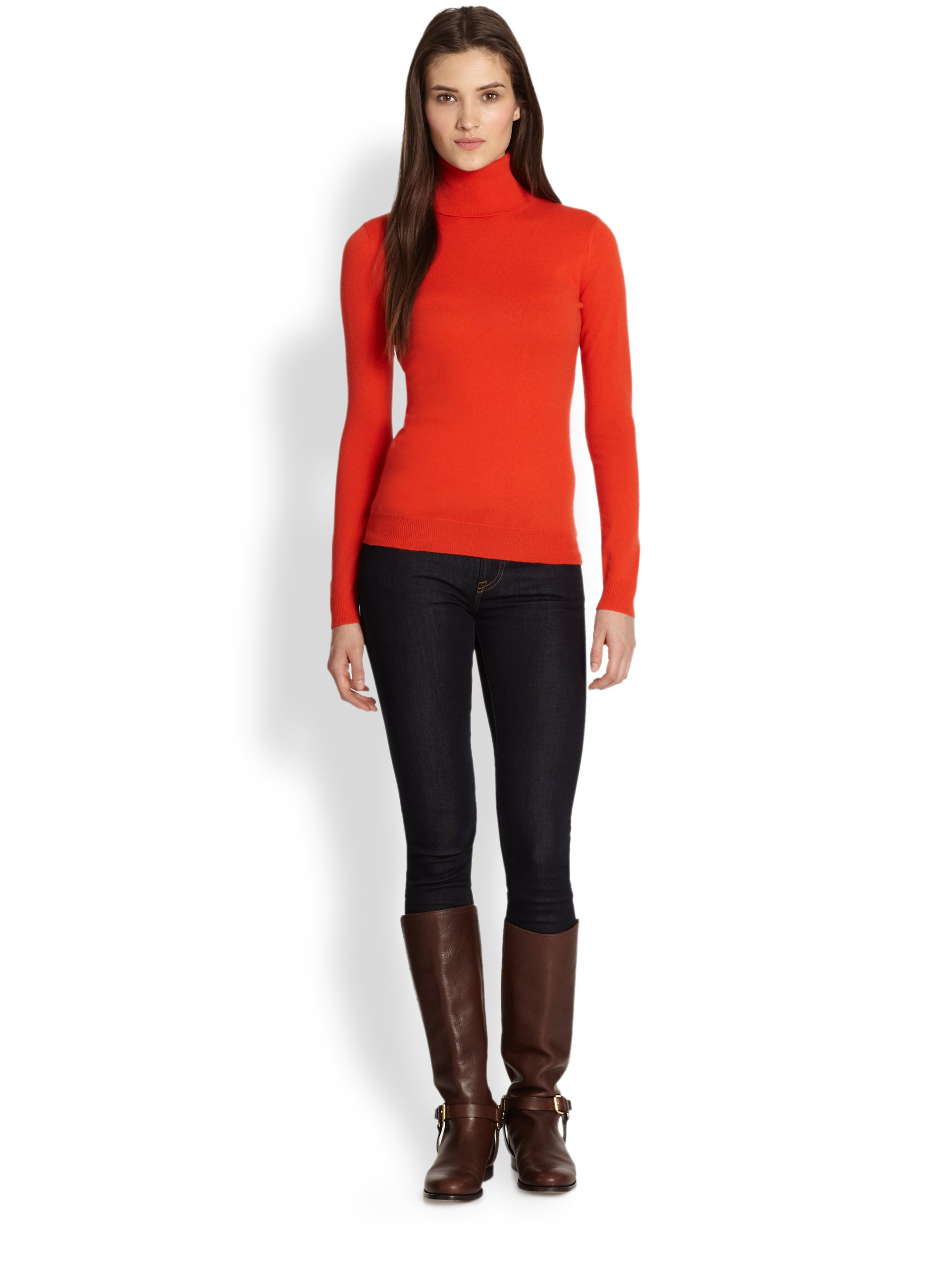 Ralph lauren black label Cashmere Turtleneck Sweater in Red | Lyst