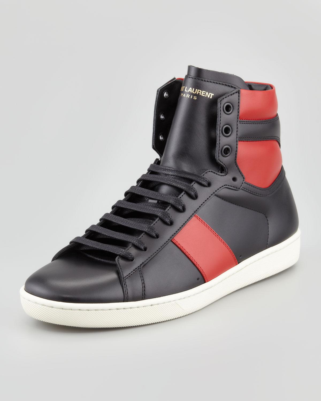 saint laurent twotone leather hightop sneaker in black for men lyst. Black Bedroom Furniture Sets. Home Design Ideas