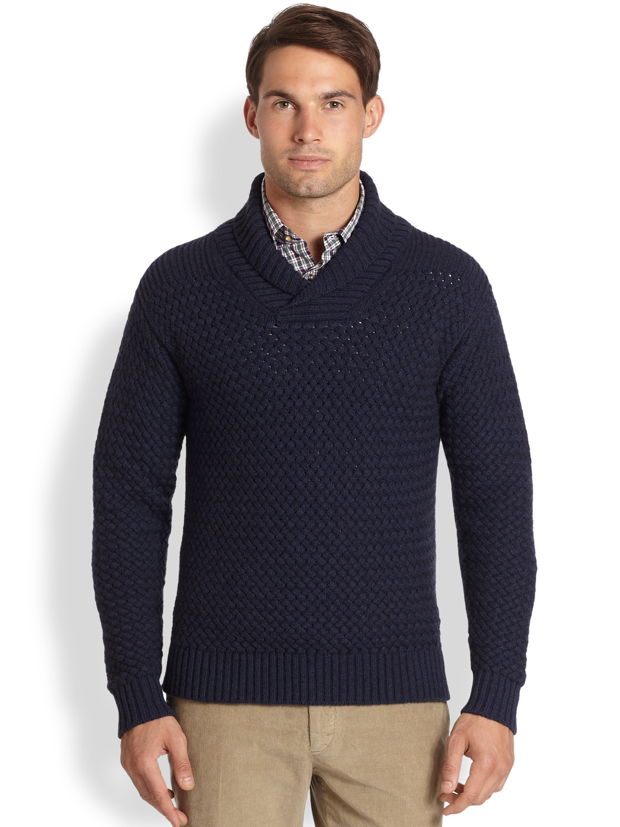 Lyst slowear stretch wool polo shirt in blue for men for Stretch polo shirt mens