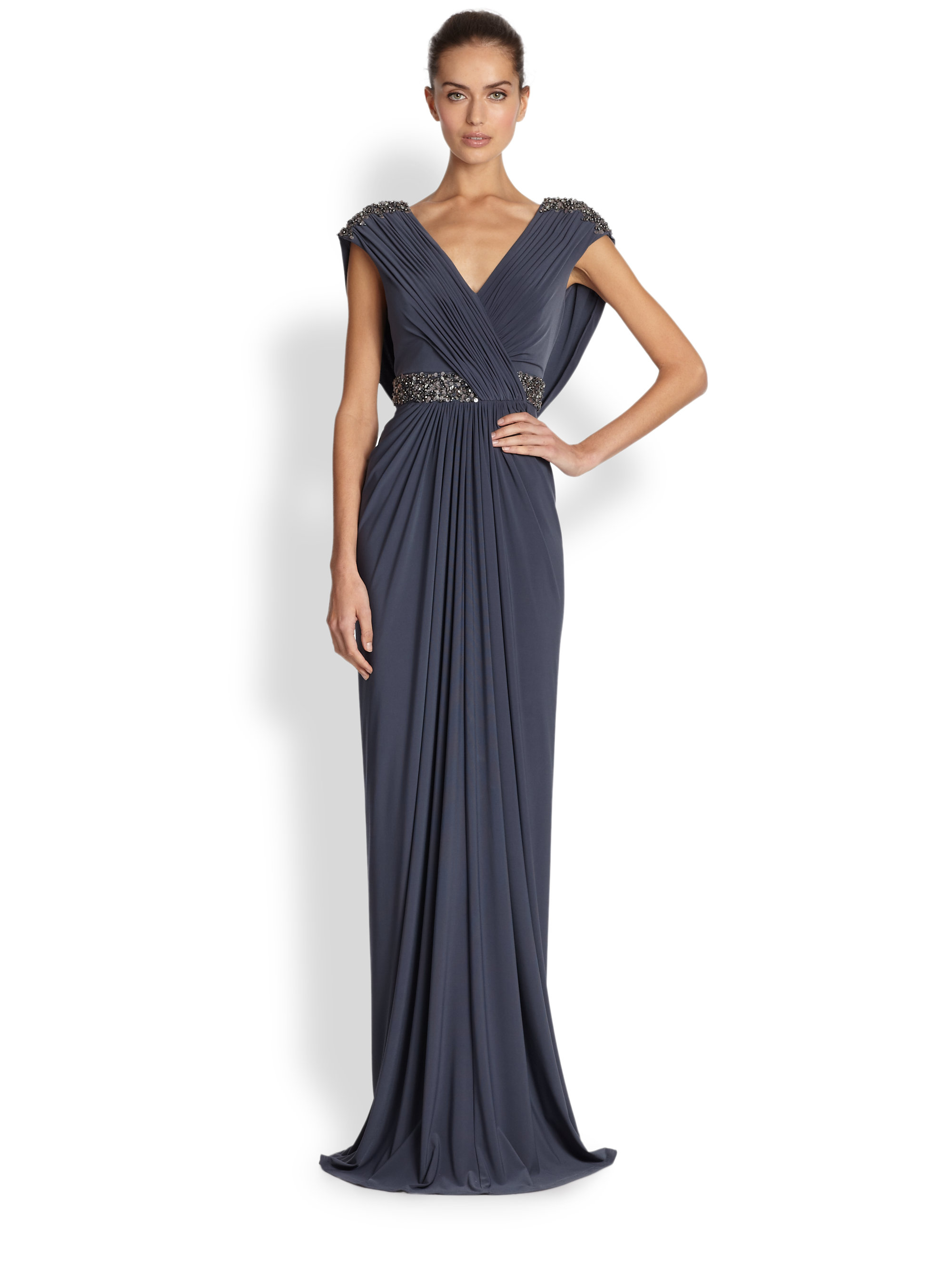 Teri Jon Draped Jersey Beaded Gown In Purple Lyst