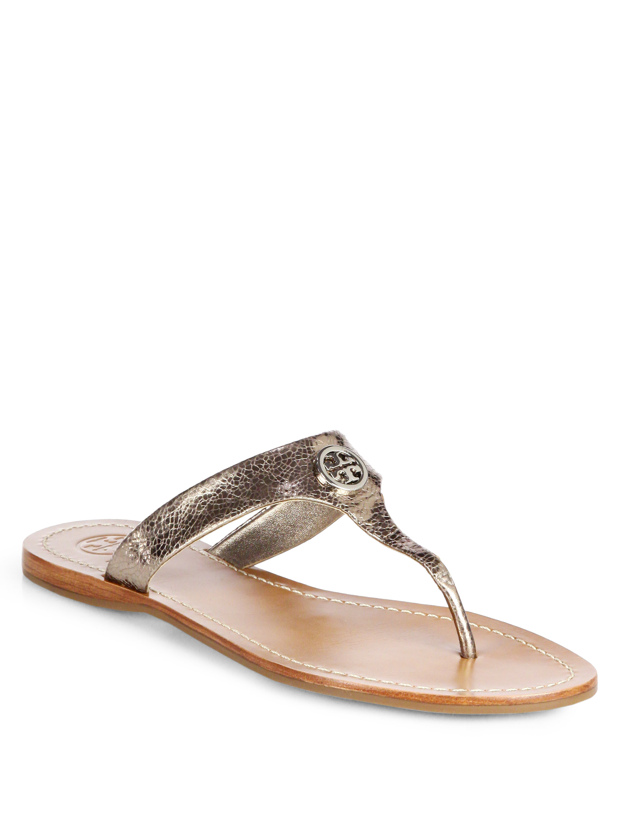 514188a6a Lyst - Tory Burch Cameron Crackled Metallic Leather Thong Sandals in ...