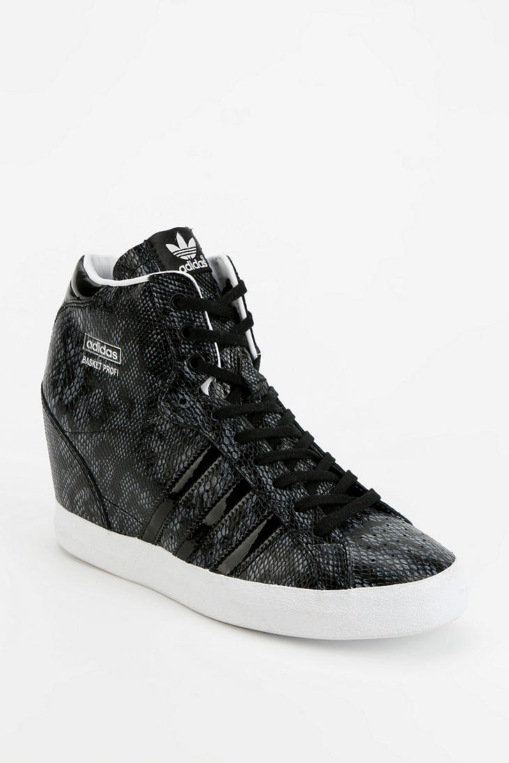 f5b0ffa58230 Lyst - Urban Outfitters Adidas Basket Snakeskin Hidden Wedge Hightop ...