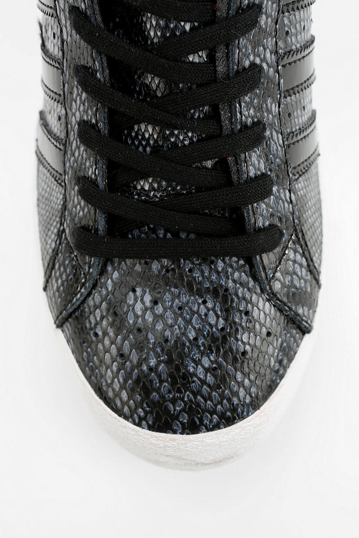 155bfbc538b8 Lyst - Urban Outfitters Adidas Basket Snakeskin Hidden Wedge Hightop ...