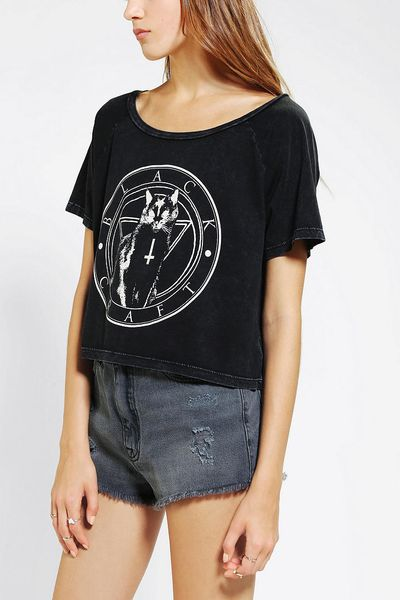 Urban outfitters black craft black cat cult cropped tee in for Lucky cat shirt urban outfitters