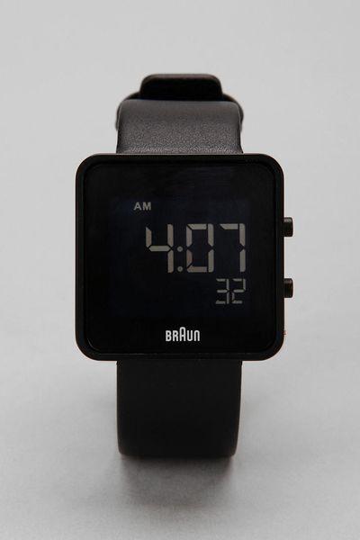 braun braun square digital in black for lyst