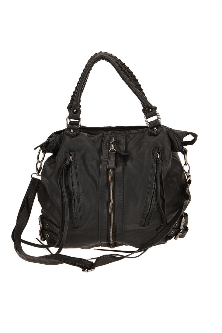 silence noise zip front moto hobo bag in black lyst