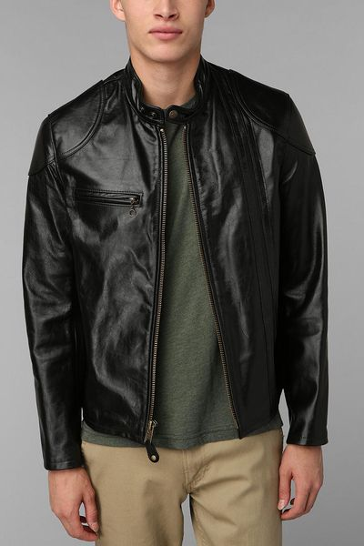 Urban Outfitters Schott Worn Cafe Racer Leather Jacket in Black for Men