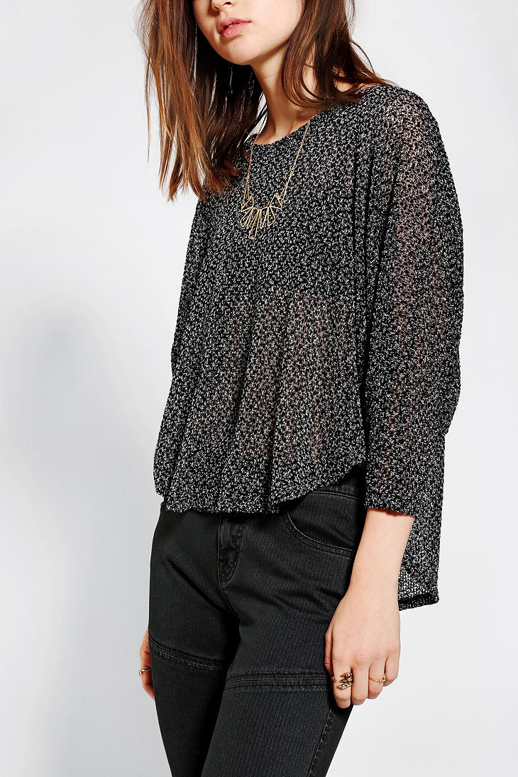 Urban outfitters Staring At Stars Swing Cropped Sweater in Black ...