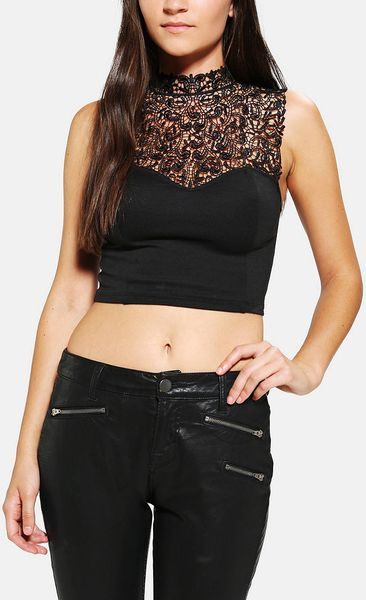 Urban Outfitters Tela Highneck Lace Cropped Top in Black | Lyst