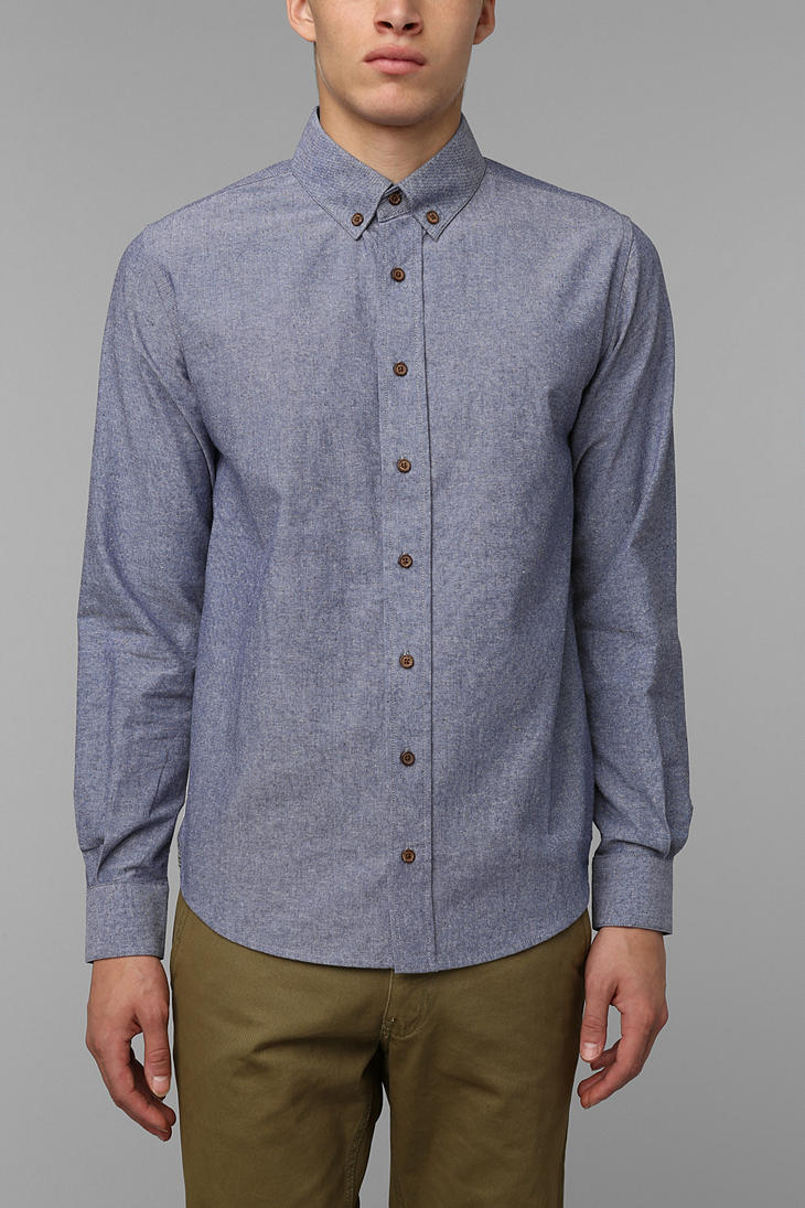 Urban outfitters Mr Nice Chambray Studio Button Down Shirt in Blue ...