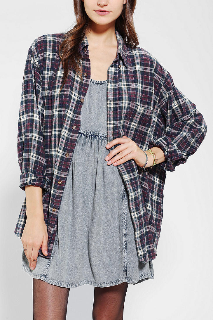 Urban outfitters urban renewal acid wash flannel shirt in for How to wash flannel shirts