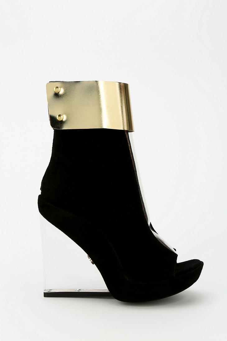 Lyst Urban Outfitters Roni Clear Wedge Peeptoe Ankle