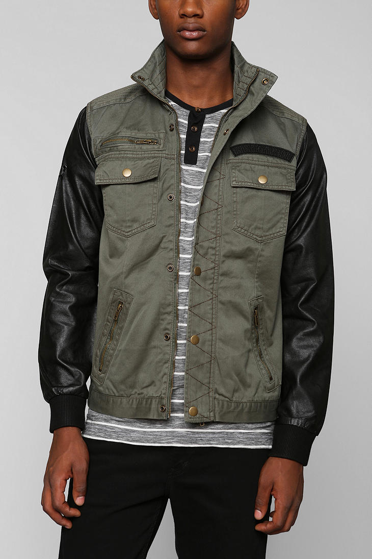 Urban outfitters Black Apple M65 Vegan Leather Sleeve Jacket in ...