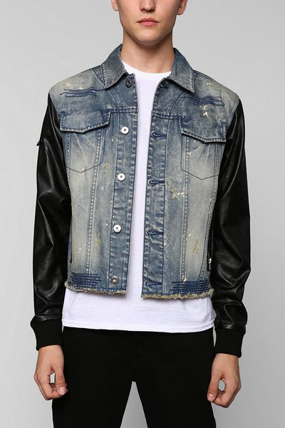 25dcff3e0c3 Mens jean jacket with leather sleeves. Clothing stores