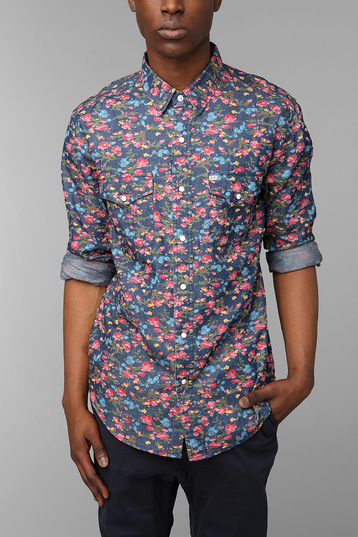 Urban outfitters Salt Valley Smoky Floral Western Shirt in Blue ...