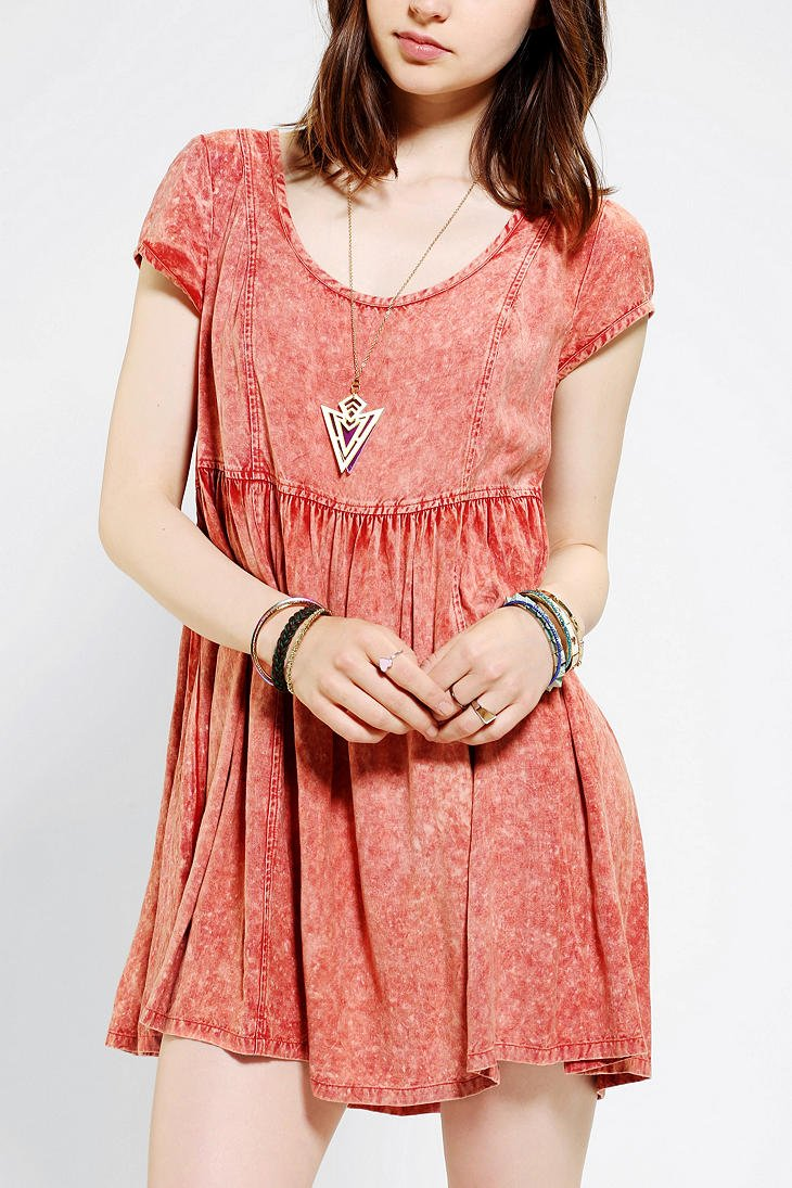 Lyst - Urban Outfitters Ecote Acid Wash Babydoll Dress in Pink