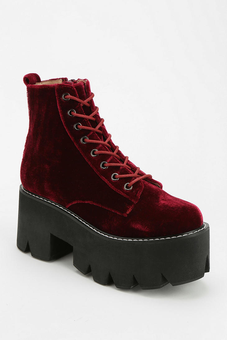 Urban Outfitters Velvet Lace Up Flatform Boot In Red Lyst