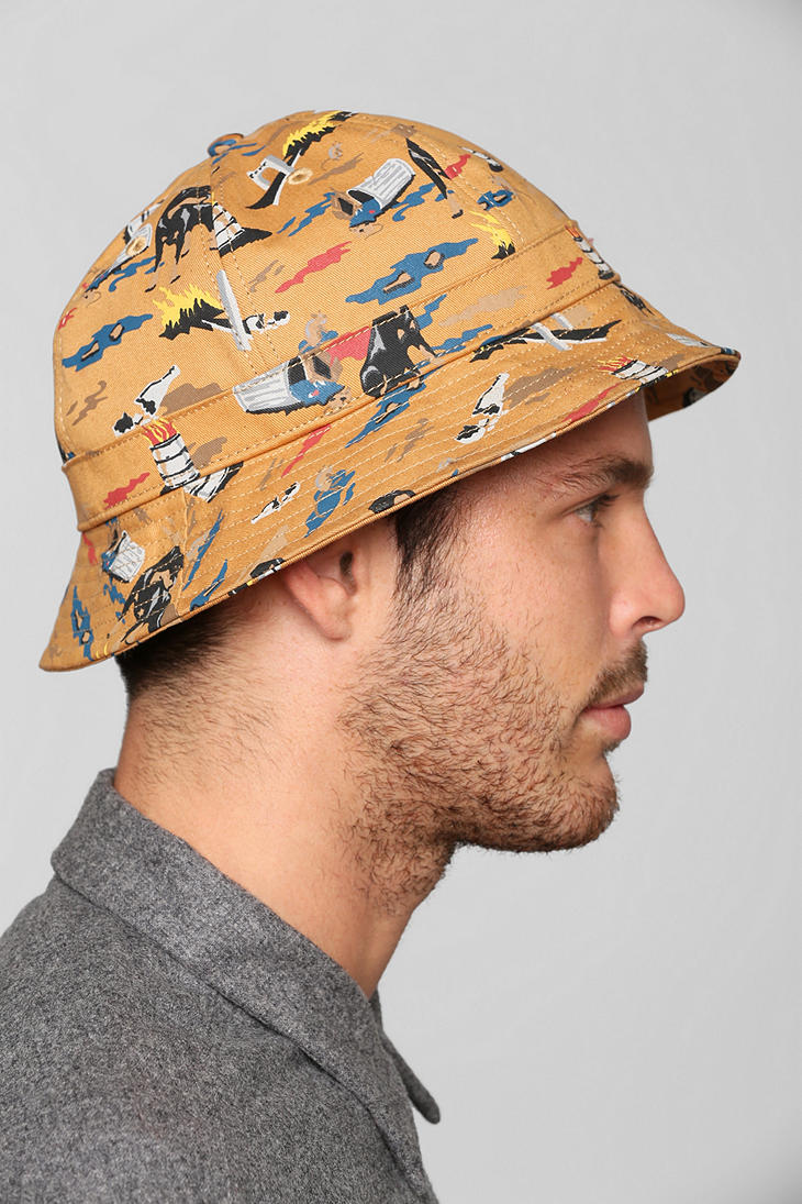 b22e64d1e81ab Lyst - Urban Outfitters Obey City Hunting Bucket Hat in Yellow for Men