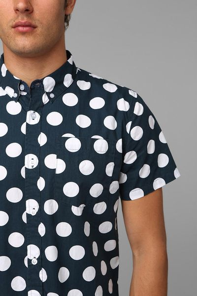 Urban outfitters 12 polka dot button down shirt in white for Button down polka dot shirt