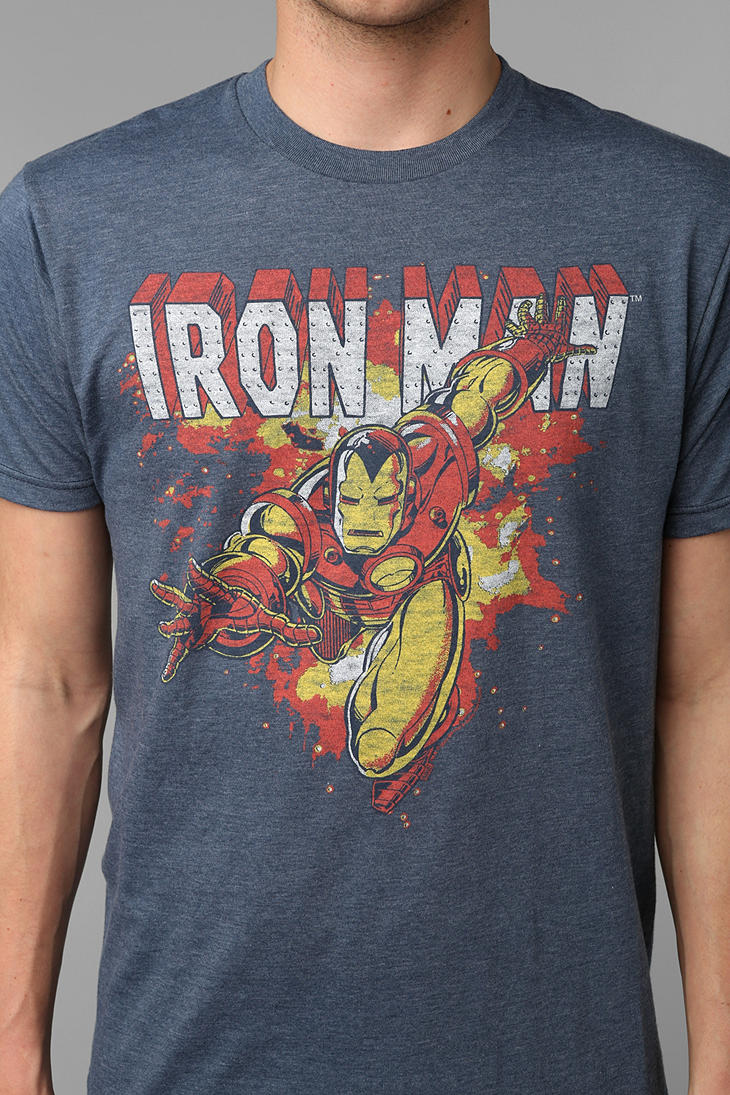 442271133 Urban Outfitters Junk Food Iron Man Tee in Blue for Men - Lyst