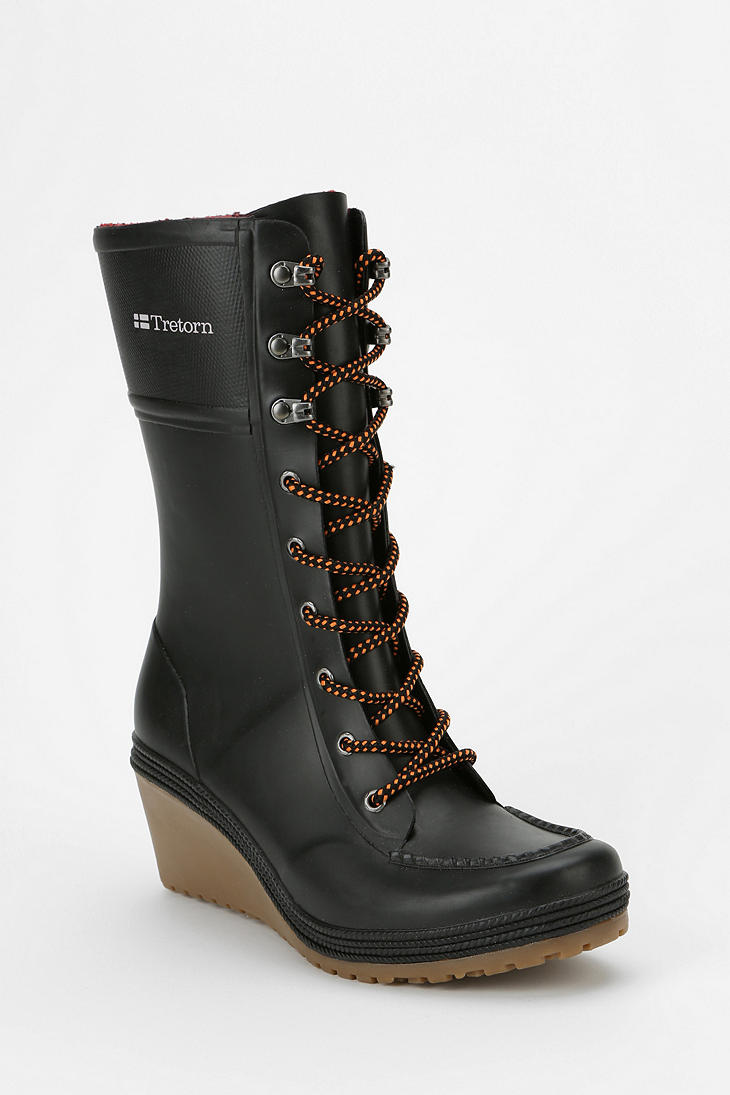 Lyst Urban Outfitters Tretorn Laceup Heeled Wedge Rain