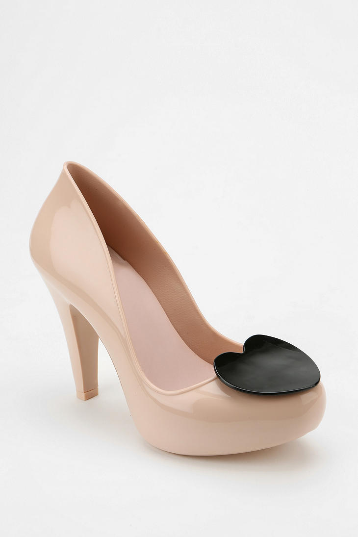 Urban Outfitters Mel By Melissa Shoes Raspberry Heart Jelly Heel In Pink  Nude