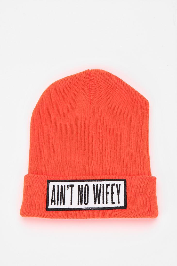 a4319df9784 Lyst - Urban Outfitters Dimepiece Aint No Wifey Beanie in Orange