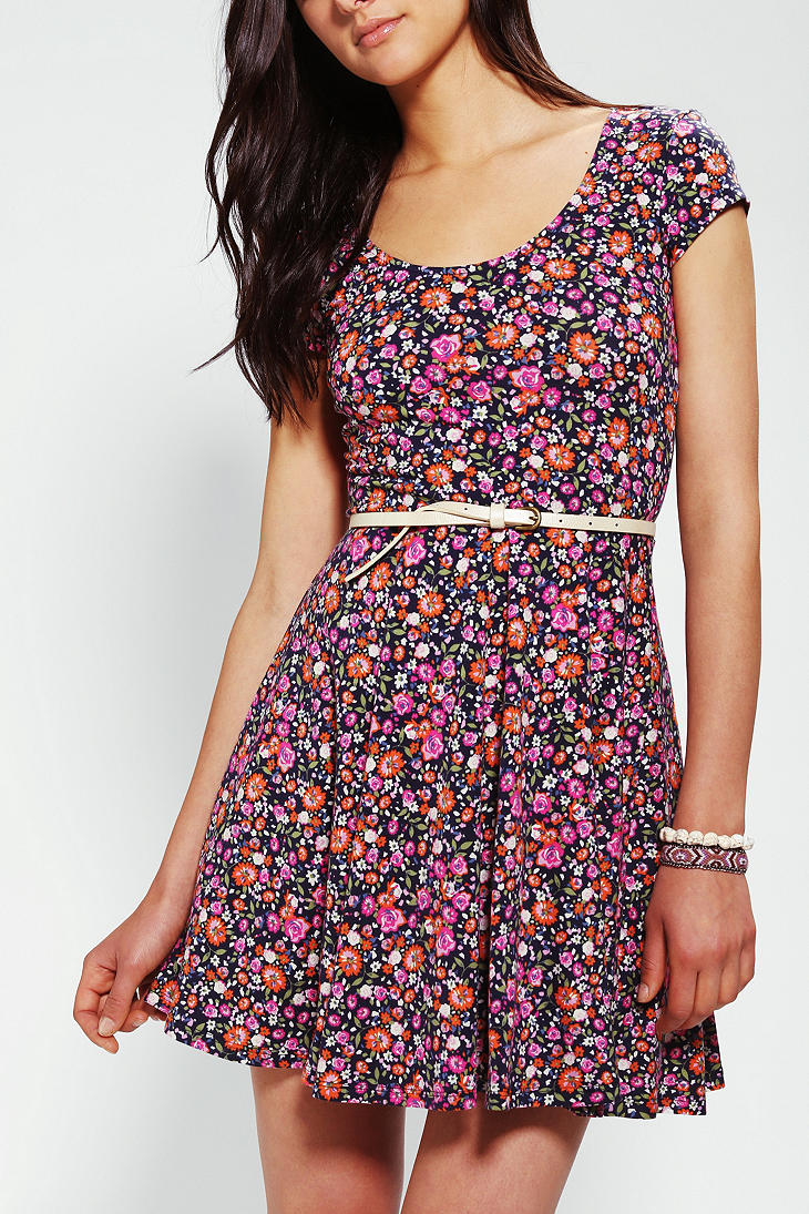 d70a561d0ede Lyst - Urban Outfitters Kimchi Blue Knit Floral Skater Dress in Purple
