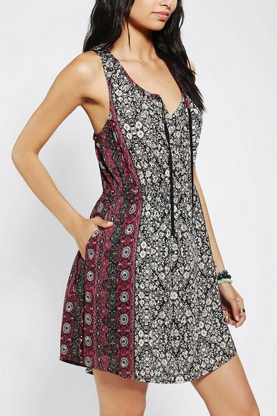 Urban Outfitters Ecote Tieneck Tank Dress in Floral (RED MULTI)   Lyst