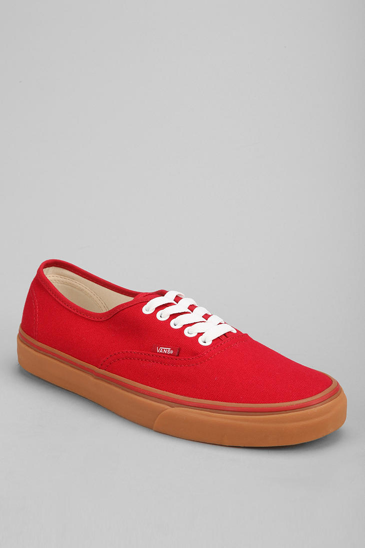 Lyst - Vans Authentic Gum Sole Sneaker in Red for Men 074efab6a7c7