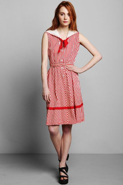 Urban Outfitters Vintage 50s Striped Sailor Dress in Red ...