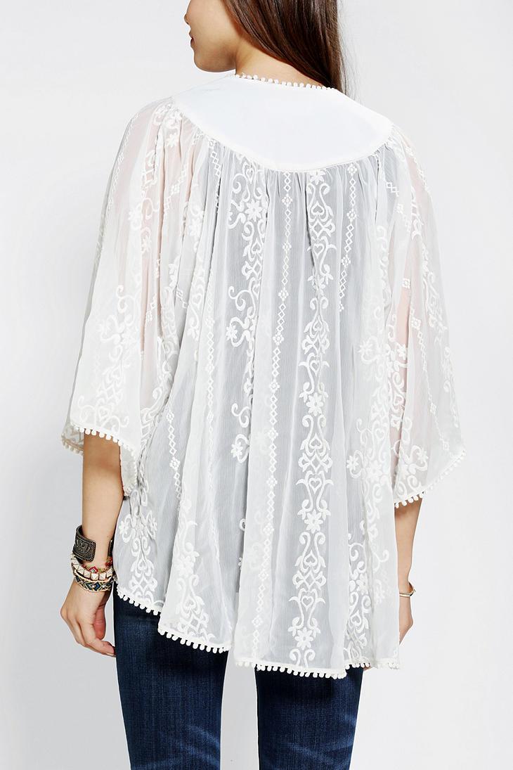 Lyst Urban Outfitters Ecote Chiffon Kimono Jacket In White