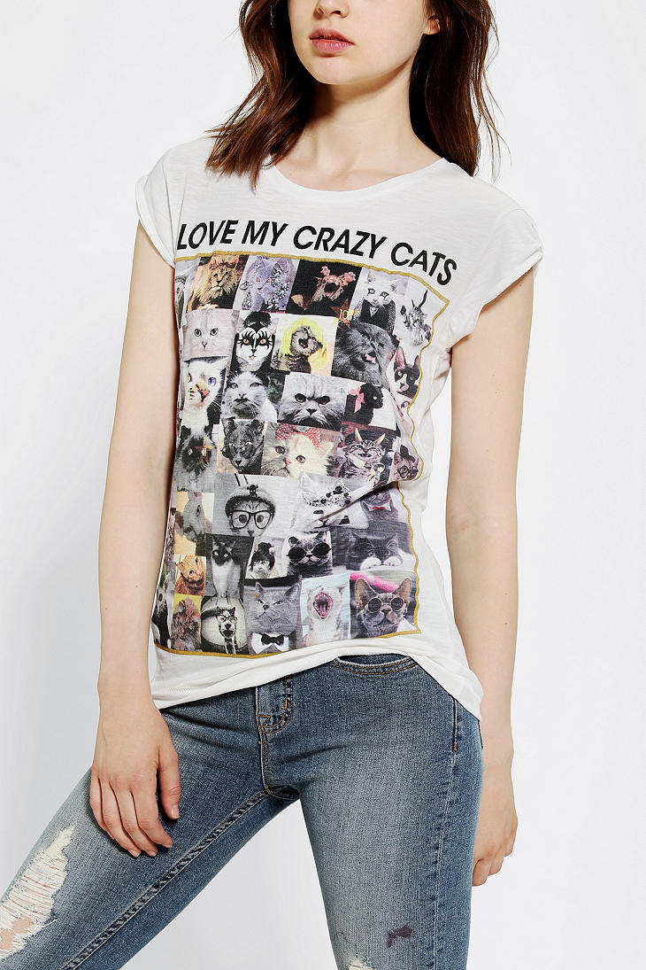 Lyst urban outfitters happiness i love my crazy cats tee for Lucky cat shirt urban outfitters