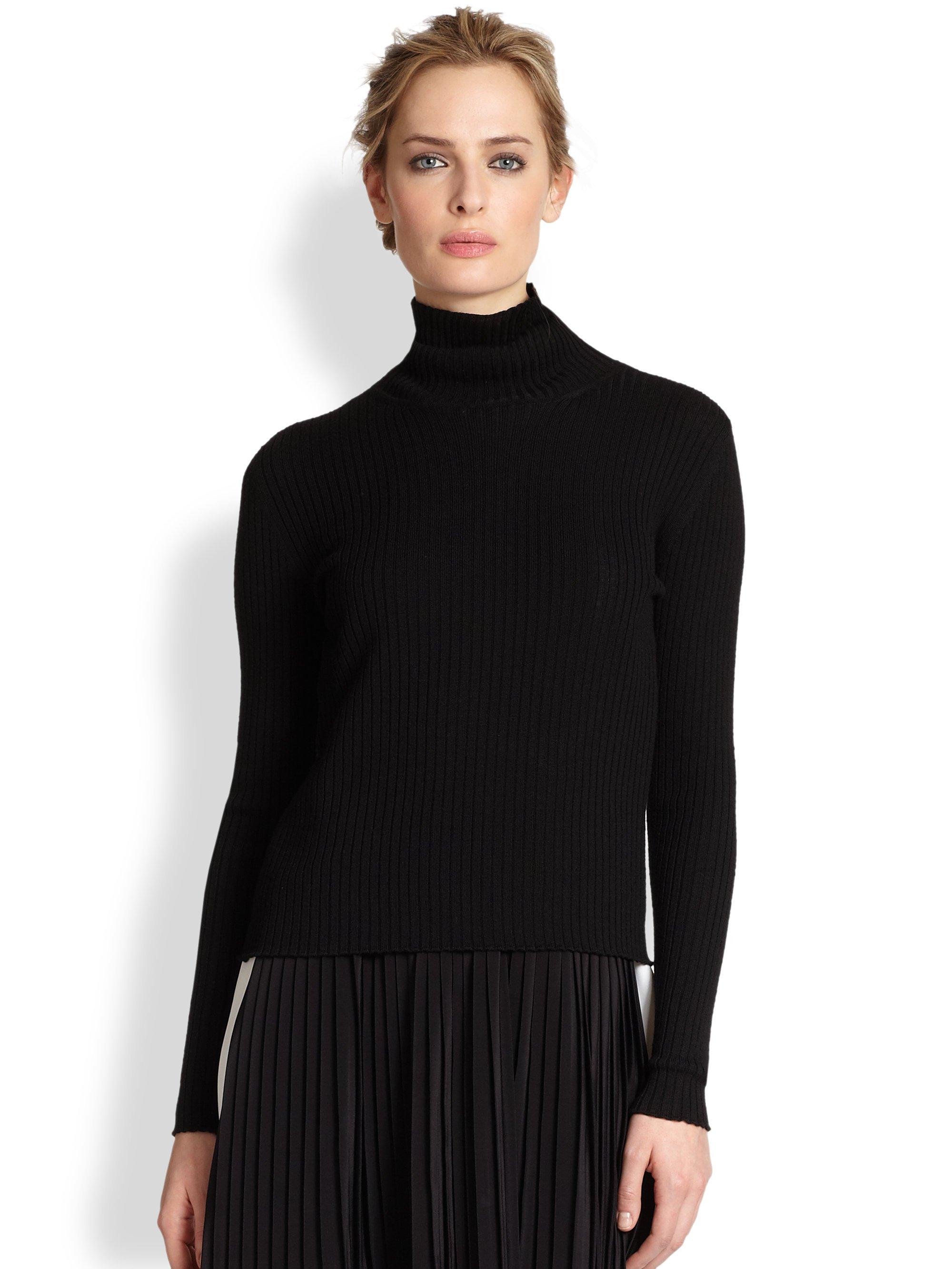 Vanessa bruno Ribbed Merino Wool Turtleneck Sweater in Black | Lyst