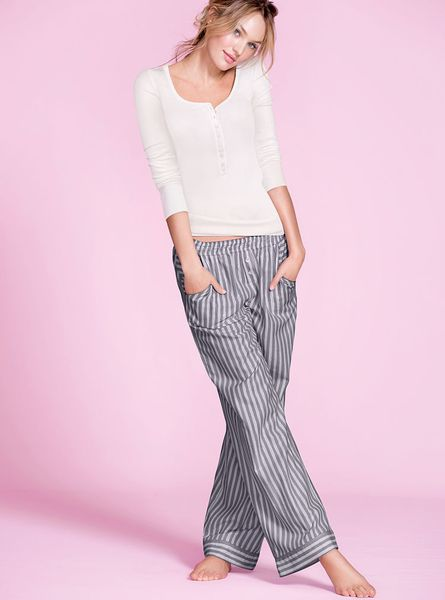 Victoria 39 S Secret The Dreamer Henley Pajama In Gray Ivory Ribbed Tee Lyst