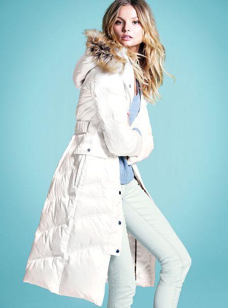 Victoria S Secret Long Puffer Coat Brown Xs In White Lyst