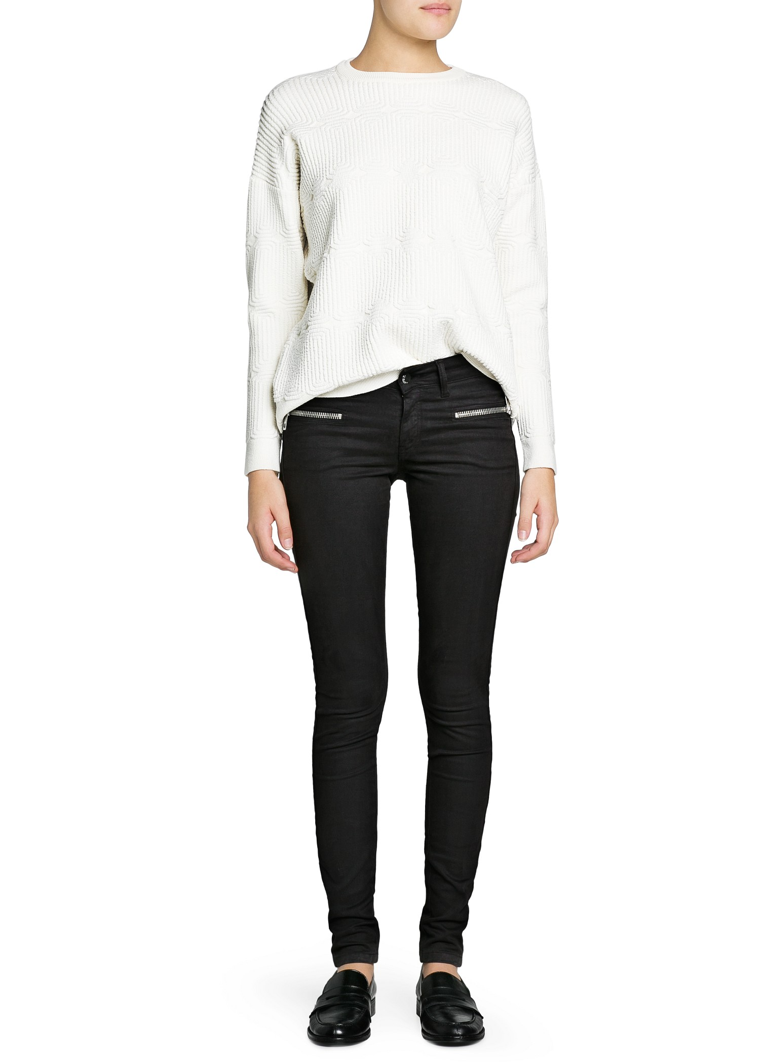 Mango Super Slim Fit Zip Black Jeans in Black | Lyst