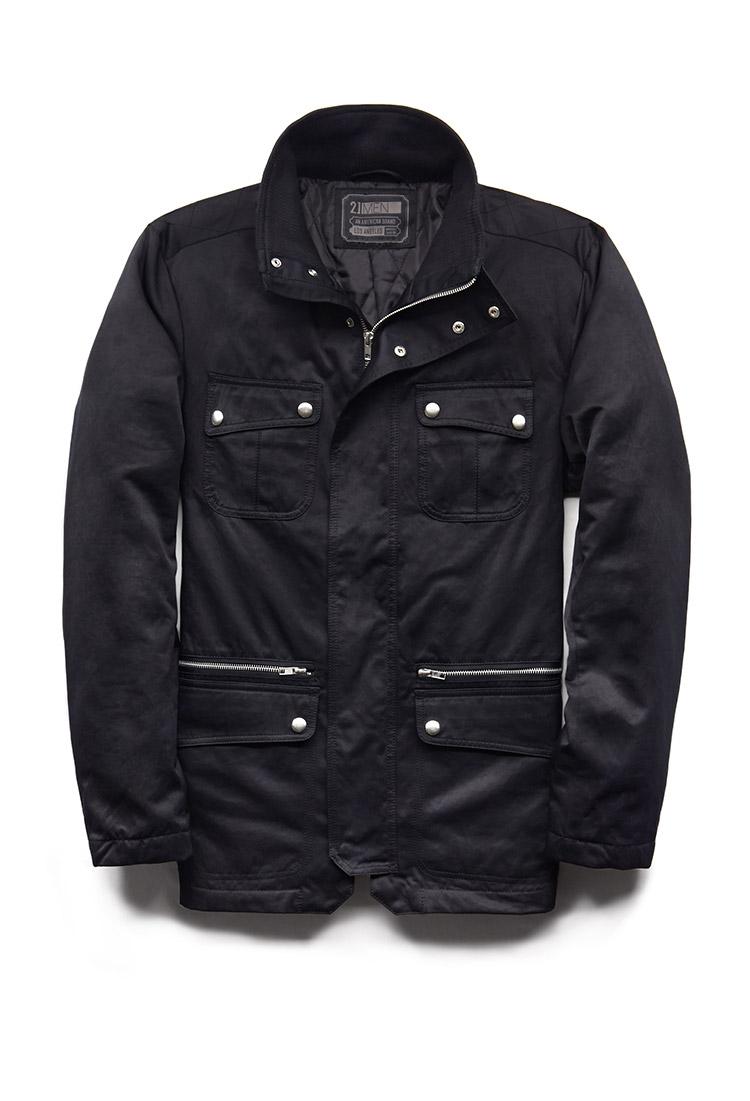 Utility Jacket Jackets And Nike: Forever 21 Modernist Utility Jacket In Black For Men