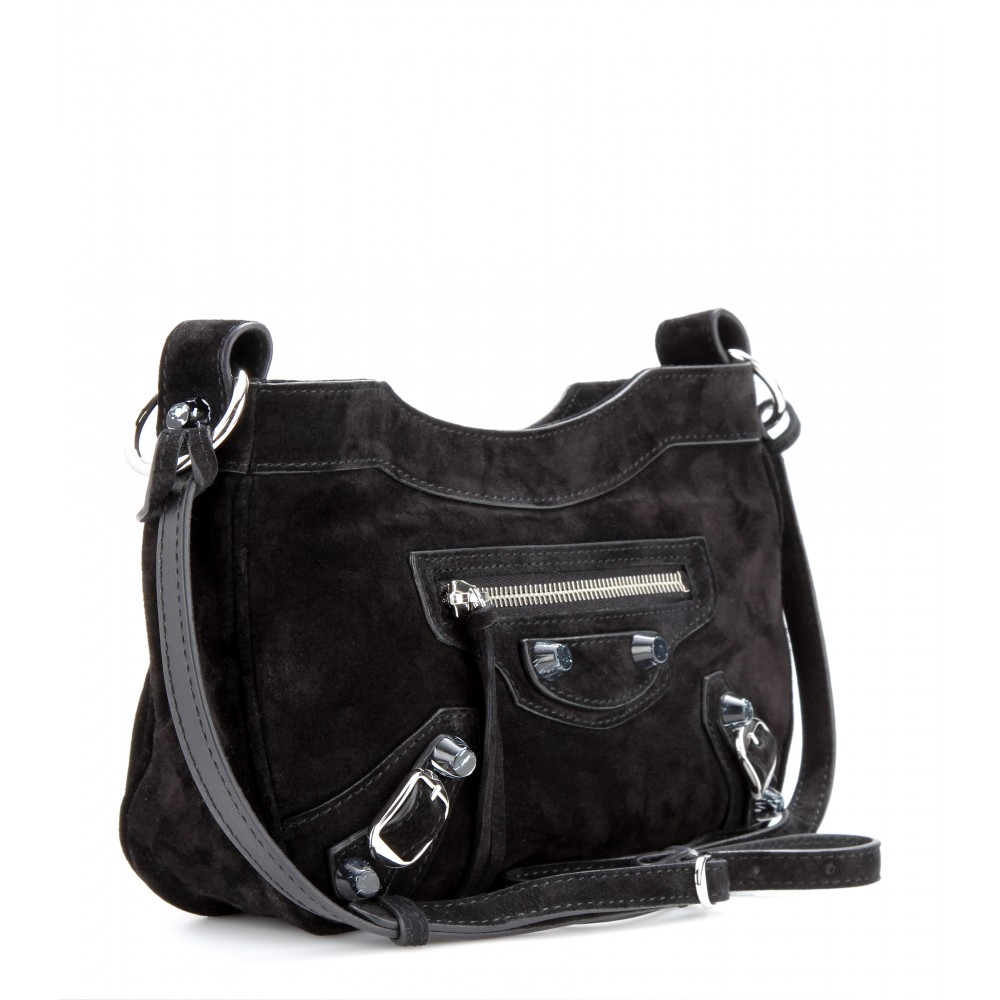7f862e6107 Lyst - Balenciaga Hip Suede Shoulder Bag in Black