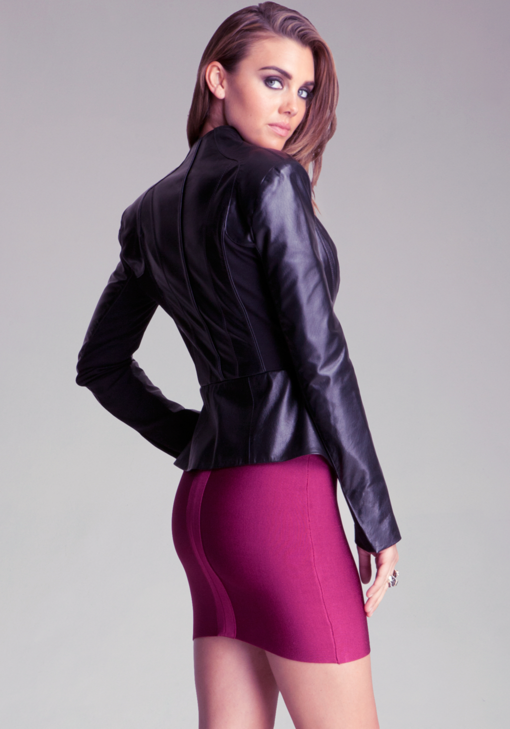 Bebe black leather jacket