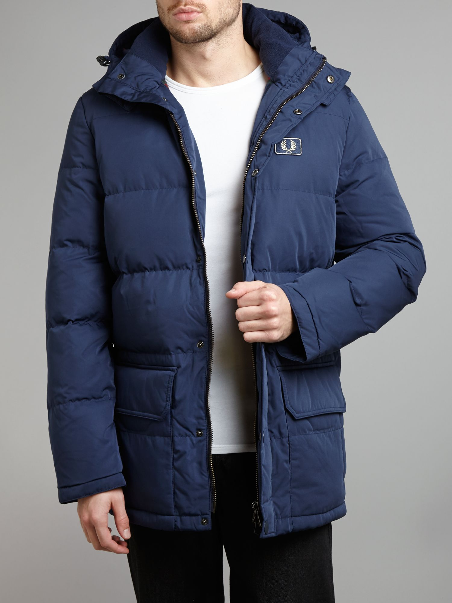 lyst fred perry down arctic hooded jacket in blue for men. Black Bedroom Furniture Sets. Home Design Ideas