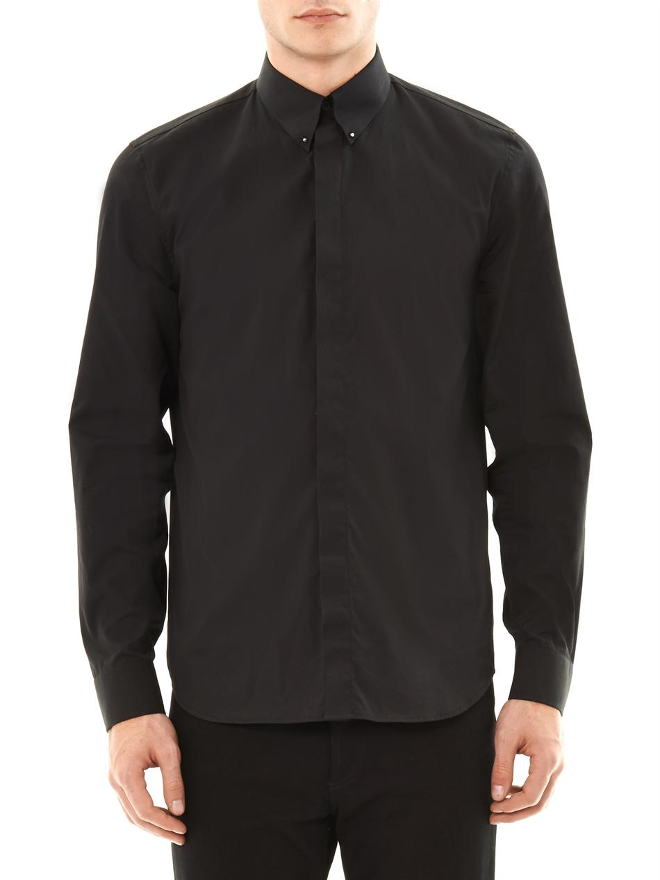 Givenchy Button Down Collar Shirt In Black For Men Lyst