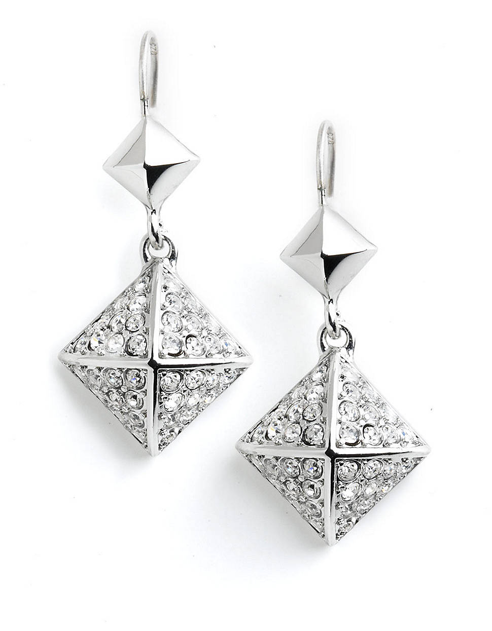 juicy couture pave pyramid drop earrings in silver lyst. Black Bedroom Furniture Sets. Home Design Ideas
