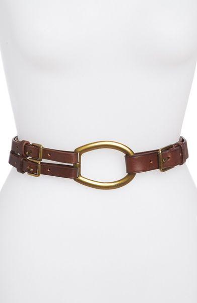 Ralph Lauren Contoured Leather Trench-buckle Belt Camel in Brown