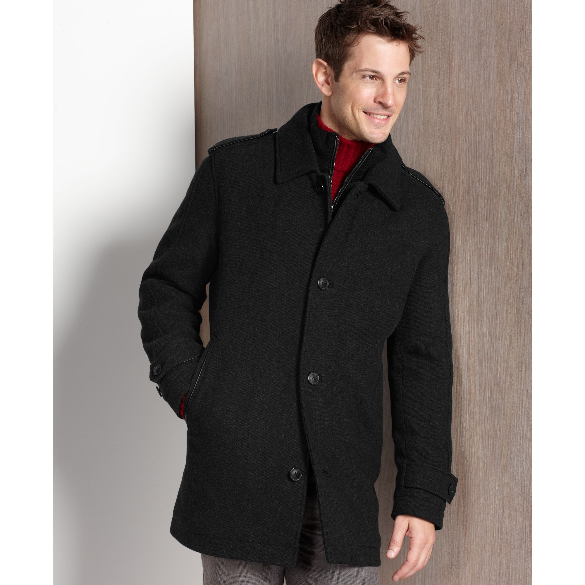 Marc new york Lloyd Woolblend Car Coat in Black for Men | Lyst
