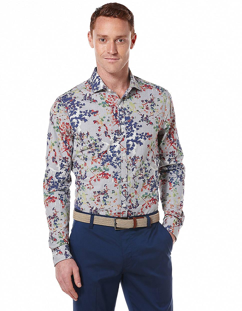 Perry Ellis Mari Foliage Print Slim Dress Shirt In Blue