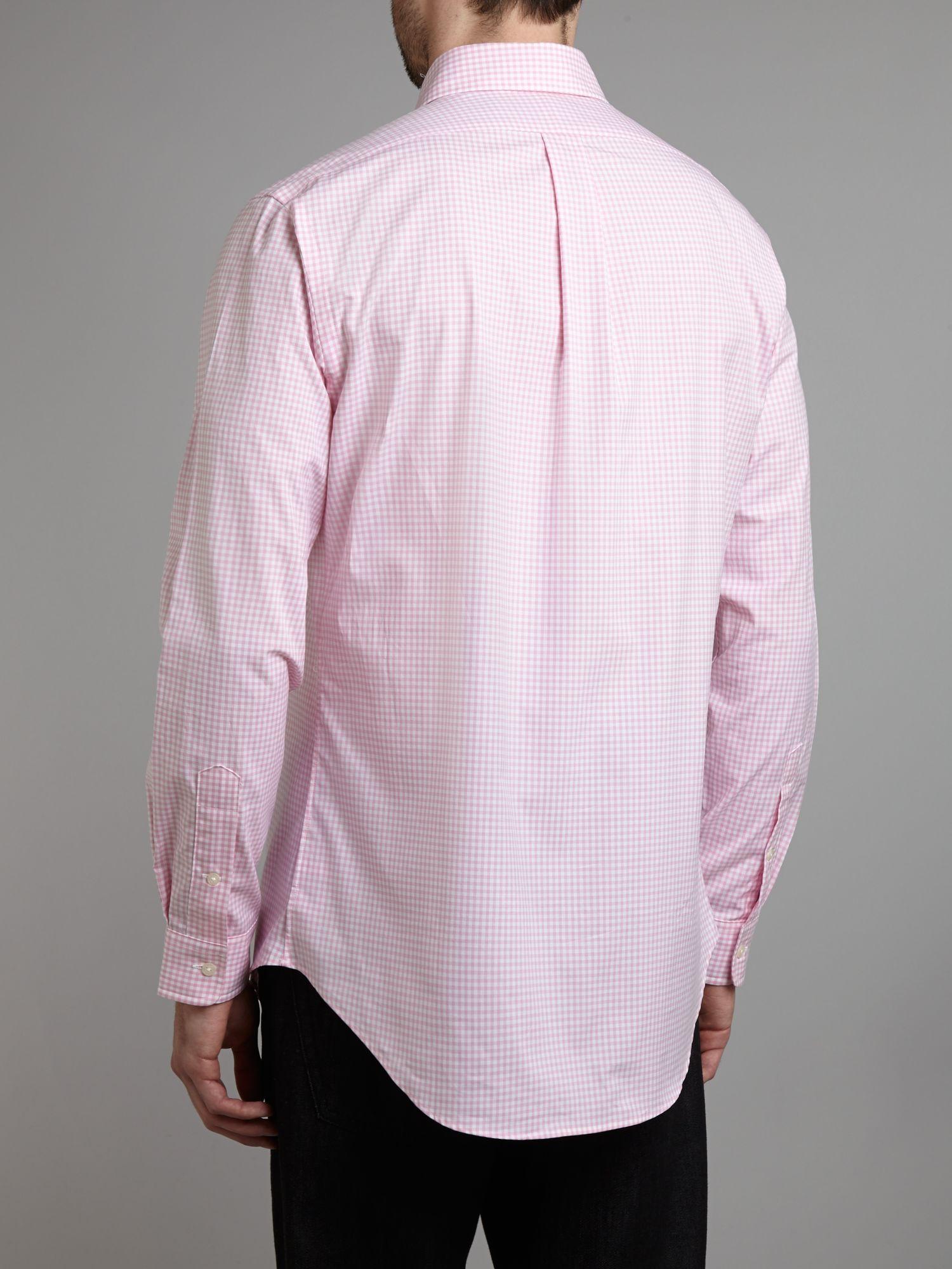 Ralph lauren golf gingham check long sleeve shirt in pink for Mens pink long sleeve shirt
