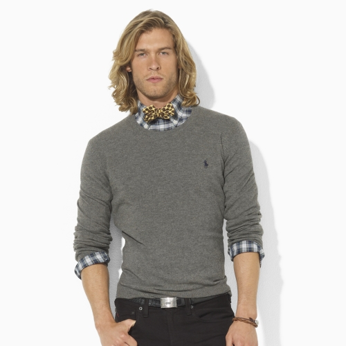 1d51a7e5d3d85a Polo Ralph Lauren Merino Wool Crewneck Sweater in Gray for Men - Lyst