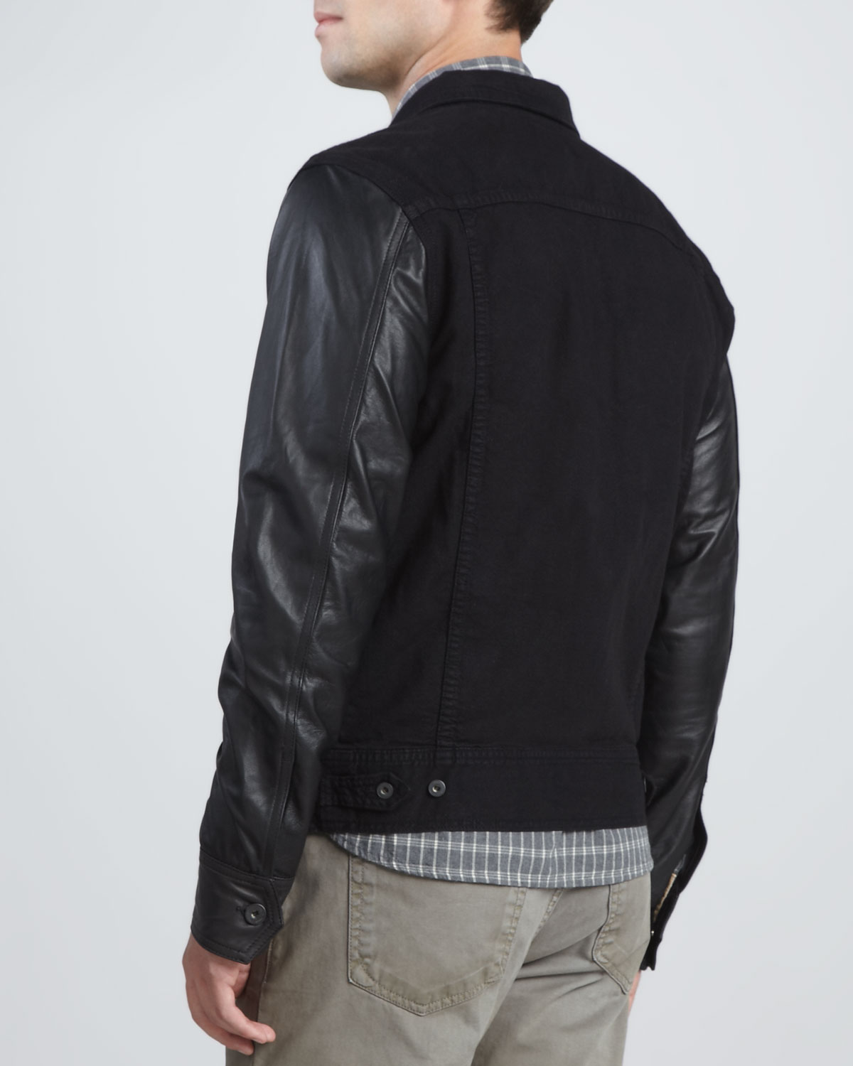 Womens jean jacket with leather sleeves