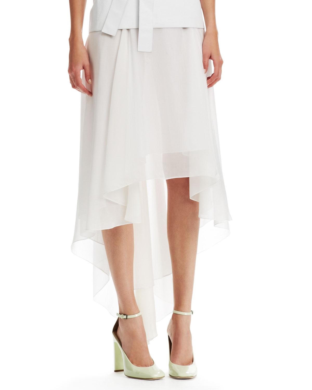 reed krakoff high low chintz chiffon skirt in white lyst